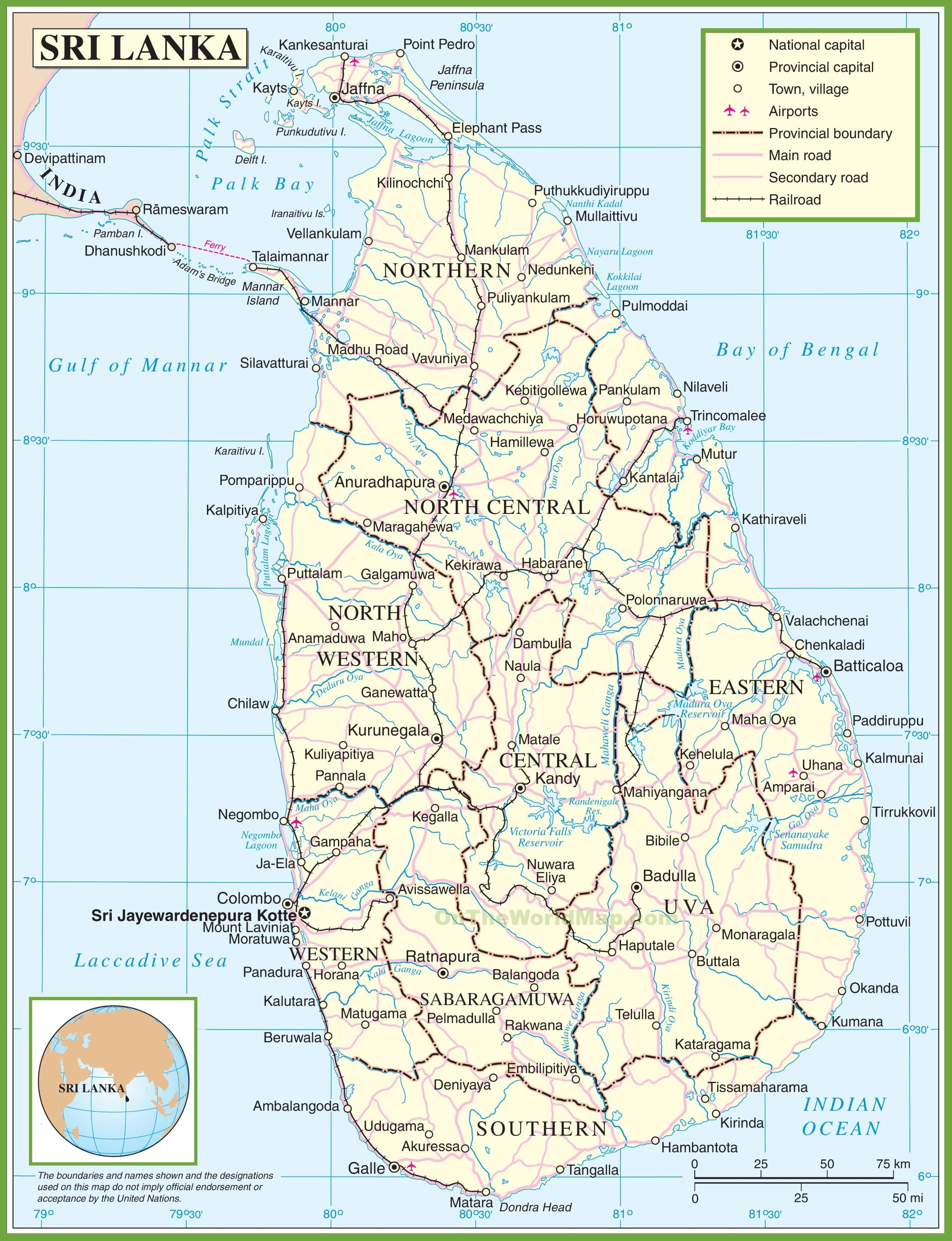 Kartta Sri Lanka Kartta Sri Lanka Etela Aasia Aasia