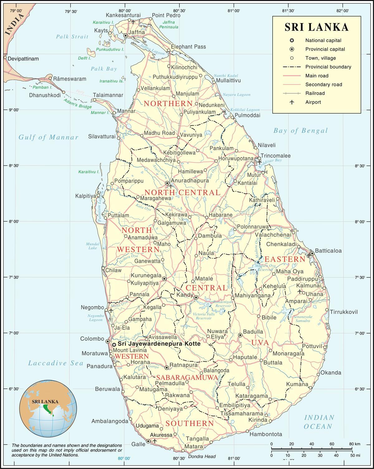 Sri Lankan Kaupungin Kartta Kartta Sri Lankan Town Etela Aasia
