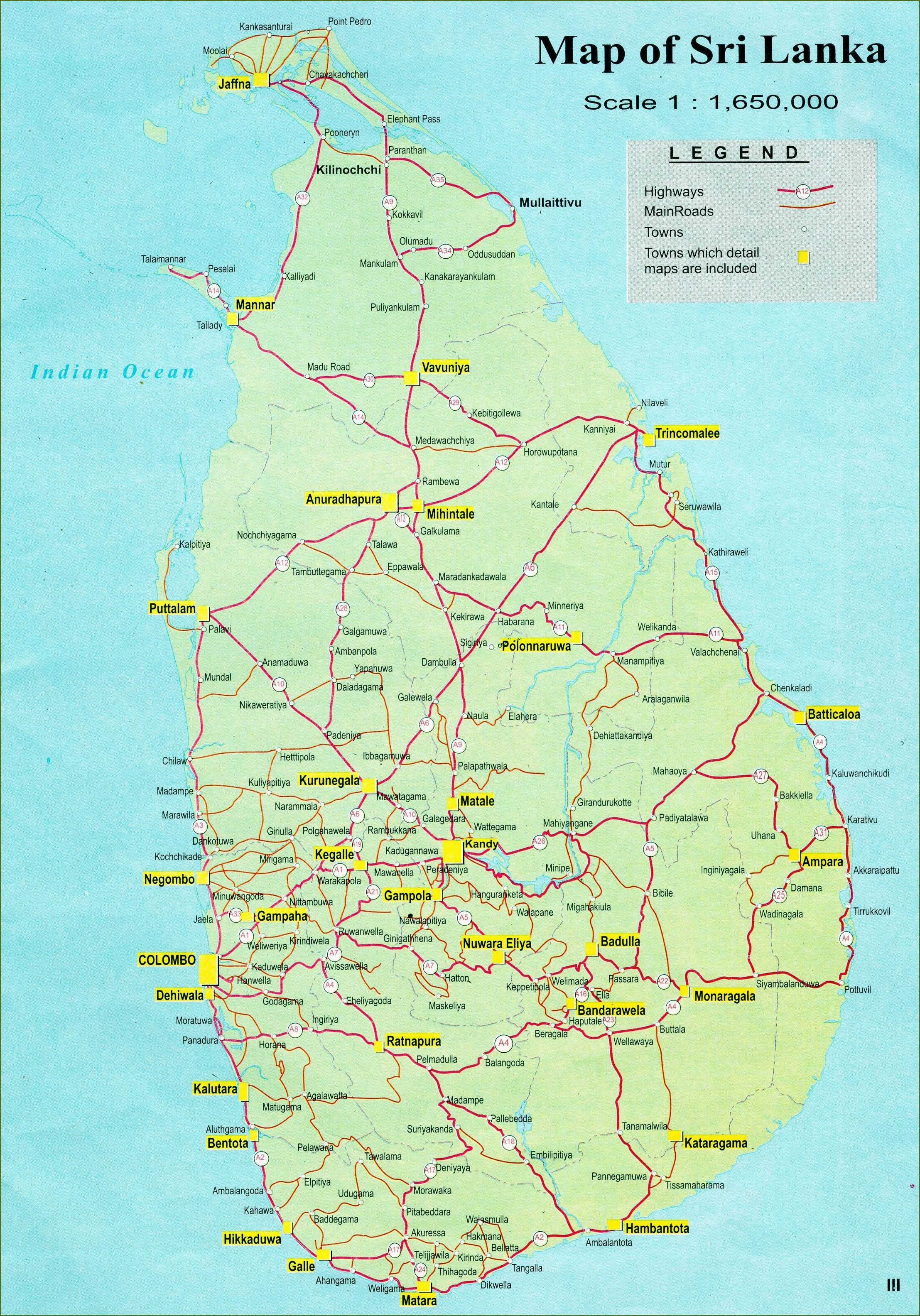 Sri Lankan Tiekartta Road Etaisyys Kartta Sri Lanka Etela Aasia