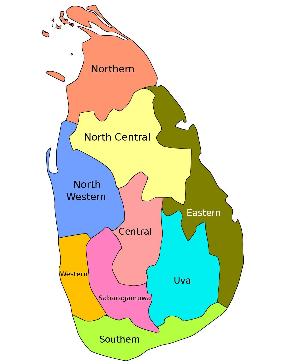Sri Lankan Maakunnassa Kartta Sri Lankan Maakunnat Kartalla