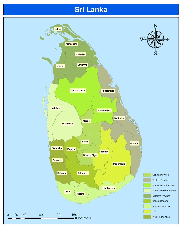 Sri Lankan Maakunnat Kartta Sinhala Sri Lanka Piirin Kartta